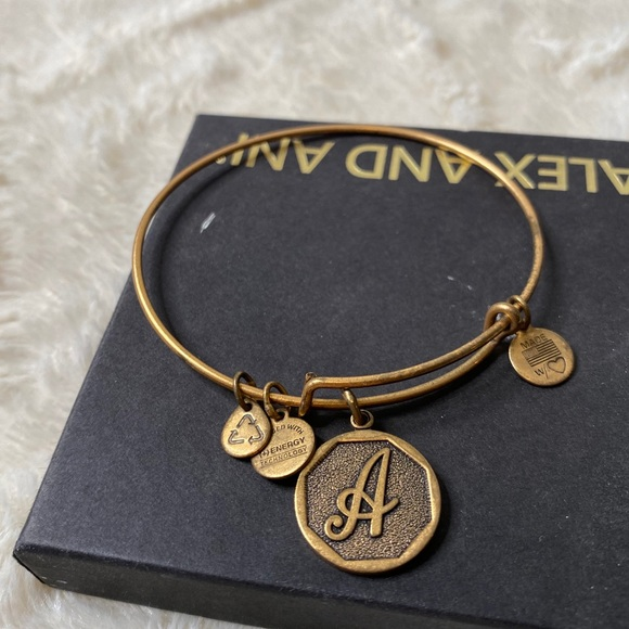"Alex and Ani initial ""A"" bracelet In Gold"